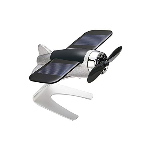 UNBRUVO Solar Small Aircraft Fan, Solar car Motion Aromatherapy Ornament Window Moving Aircraft Airplane Model,The Best Gift for Men and Boys (Silver, 9X7.5X5cm)