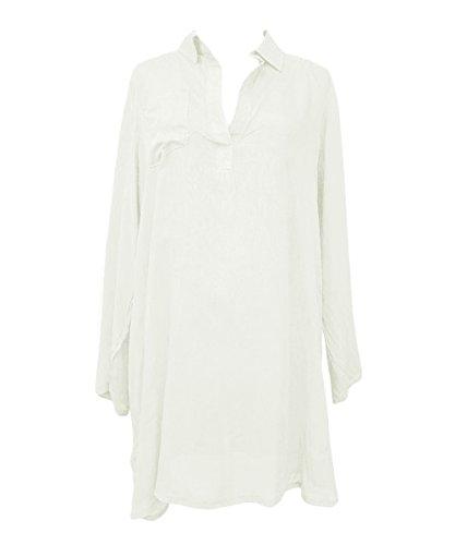Y&L Vrouwen Witte Blouse Jurk Losse Shirt Cover Ups Sunshirt Strandkleding