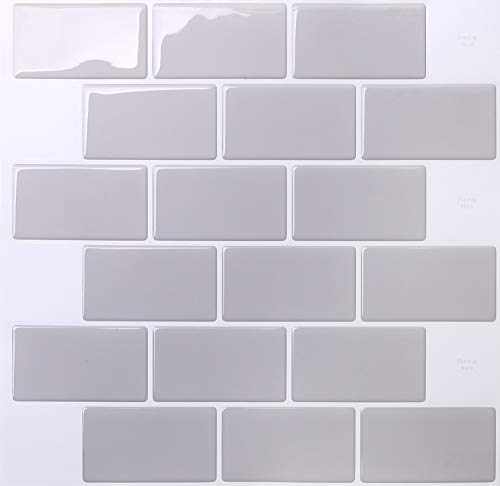 10-sheet Peel and Stick 3D Tile Sticker Self Adhesive Wall Tile for Kitchen Backsplash and Bathroom in Subway Grey (30 cm x 30cm)