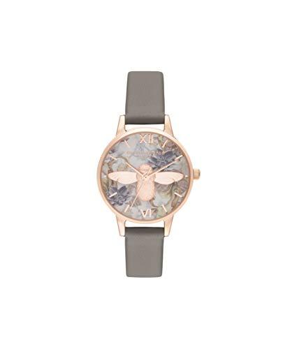 Olivia Burton Unisex Erwachsene Analog Quarz Uhr mit Leder Armband
