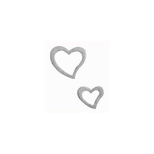 Rayher 8827022 Holz-Streuteile Herzen, Btl. 24 Stück, 1,5 und 4 cm, Holzstreuteile, Tischstreuer, Tischdeko, Streudeko, Hochzeit, Tischschmuck, Dekoherzen, Streuherzen, silber