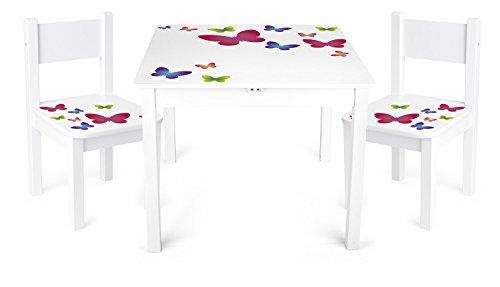 Leomark Weiß Kindertisch und 2 Stühle aus Holz - Schmetterlinge YETI - Tisch Kinderstuhl für Kinder, Kindersitzgruppe, Sitzgruppe mit UV Aufdruck, Mehrfarbig Tischgarnitur, Dim: 60x60x49 (H) cm