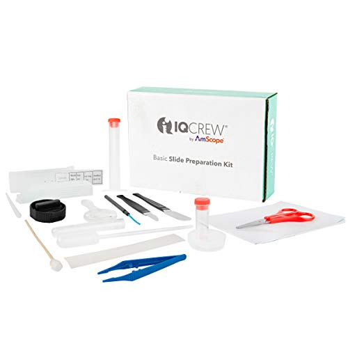 AmScope IQCrew 35-Piece Microscope Slide Preparation Kit - Essential Student Sample Specimen Set of Tools & Microscopy Accessories