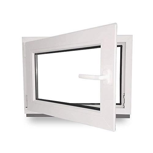 Kellerfenster - Kunststoff - Fenster - innen weiß/außen weiß - BxH: 90 x 60 cm - 900 x 600 mm - DIN Links - 2 fach Verglasung - 60 mm Profil