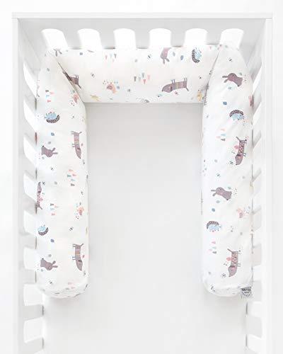 Julius Zöllner 8281067290 Nestchenschlange für Babybett , 180 cm Durchmesser 14 cm, Jersey-Baumwolle, Standard 100 by OEKO-Tex, Crazy Animals, mehrfarbig