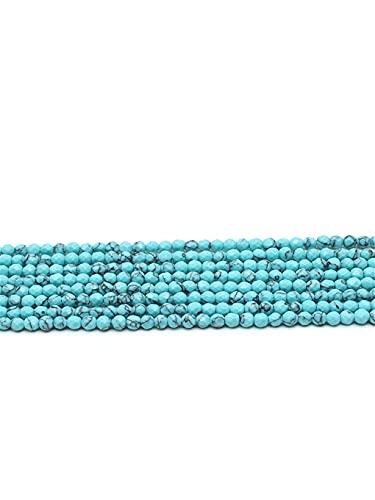 Piedra natural facetada verde turquesa redonda cuentas sueltas 4mm hebra para hacer joyas DIY pulsera collar accesorios verde 4mm aprox 93beads
