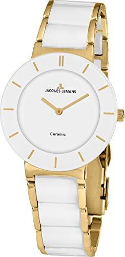 JACQUES LEMANS Damen Analog Quarz Uhr mit Edelstahl Armband 1-1947F