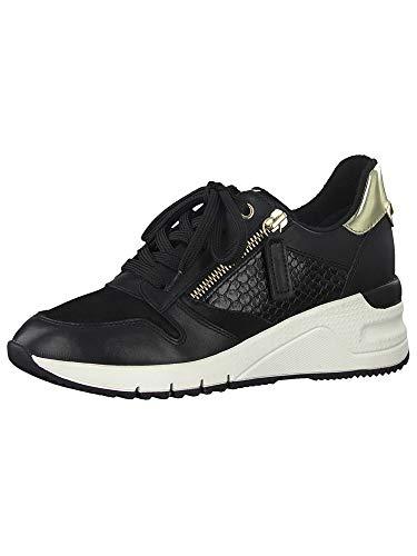 Tamaris Damen Schnürhalbschuhe, Frauen sportlicher Schnürer,lose Einlage, Sneaker schnürer freizeitschuh Wedge keil Lady,Black/Gold,40 EU / 6.5 UK