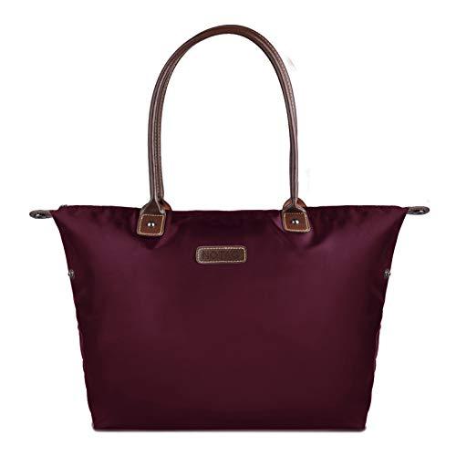NOTAG Nylon Shopper, Wasserdicht Damen Handtasche Reise Schultertasche für Einkaufen Strand (Weinrot)