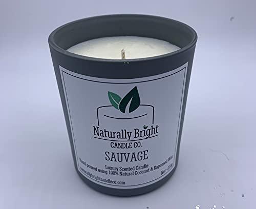 Vela perfumada de lujo, vegana, libre de crueldad, sin parabenos, cera de coco y colza, vela de cera natural, no soja (Sauvage)