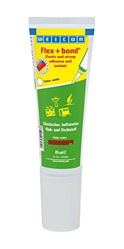 WEICON Flex+bond®| Farbe: weiß| 85ml Tube| haftstarker dauerelastischer Kleber|Extrem beständig gegen Wasser UV Temperatur|Auf Glas Metall Holz| ISEGA