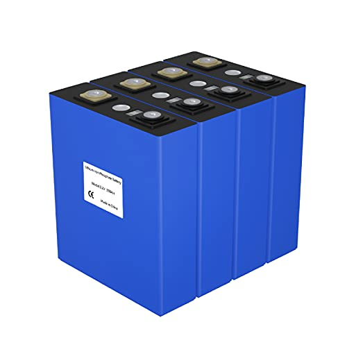 ninthcit 2021 Grade A 3.2V 200AH Deep Cycle Lifepo4 Battery Cells 12V 200ah Lithium Rechargeable Battery with QR Code, Perfect for Boat, RV, Golf Cart, Solar System, UPS etc(4PCS)