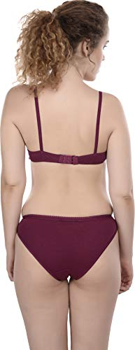 FIMS - Fashion is my style Cotton 1 Bras & 1 Panties Set for Women Bra Panty Set Bra Panty Set for Women with Sexy Undergarments Lingerie Set for Women for Sexy Honeymoon Multicolour Size-34 Maroon