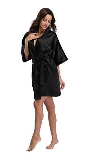 Luvrobes Women's Satin Kimono Robe, Solid Color, Short(Black, S)