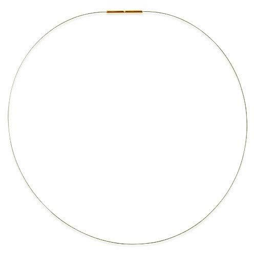 Drachenfels Luxus Halsreif in Echtsilber | Stahlreif mit Bajonettverschluss aus goldplattiertem 925 Sterling Silber | Stahlseil für Anhänger | Länge 42 cm, Stahlseil Ø 1 mm