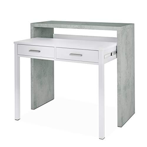 Habitdesign Mesa Escritorio Extensible, Mesa Estudio, Consola, Acabado en Color Gris Cemento y Blanco Artik, Medidas: 98,5 cm (Ancho) x 36-70 cm (Fondo) x 87,5 cm (Alto)