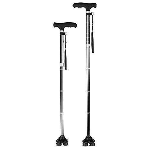 Faltbarer Rohrstock, der alte Mann muss sich nicht bücken, um den Rohrstock aufzunehmen, leichter und komfortabler Rohrstock aus legiertem Stahl, Rohrstock mit LED-Taschenlampe,Ein Fuß
