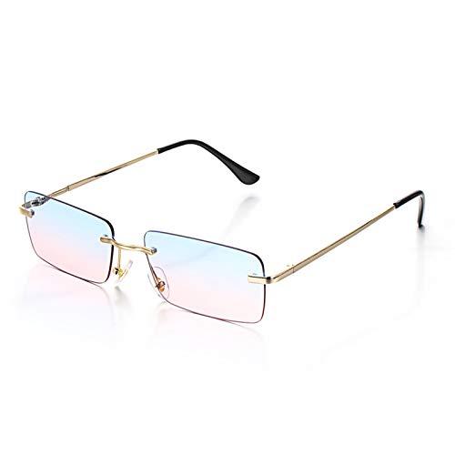 enioysun Gafas De Sol Aviador Rectángulo de Moda sin rimo de Gafas de Sol de Lujo diseño de Mujeres Unisex Retro Degradado Gafas Gafas anteojos (Color : Blue Pink)