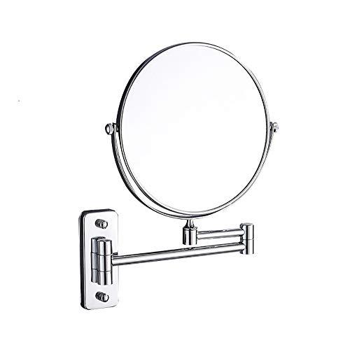 LOHOX Miroir Mural Double Face Mirroir de Maquillage Cosmétique Salle de Bains Grossissement 3X + Miroir de Courtoisie Normal de 8 Pouces Monté sur Un Mur Pivotant, Extensible