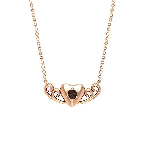 Rosec Jewels 18 quilates oro rosa redonda Brown Cuarzo Somky
