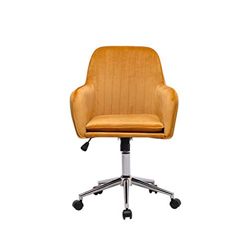 Hironpal Yellow Velvet Office Chair Ergonomic Desk Chair Executive Chair Computer Chair for Home Office Reception Chair Adjustable and Reclining 360° Swivel Recliner Chair