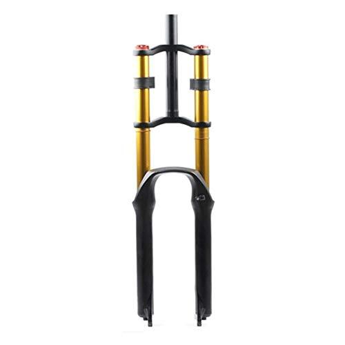 LHHL Air Fourche Suspension pour Vélo 26/27.5/29' VTT Double Épaule Une Descente Descente Rappel Amortisseur Voyage 130mm Amortissement Frein Disque QR DH/AM/FR (Color : B-Gold, Size : 27.5in)