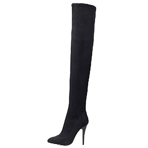 REALIKE Damen Stiefel Lang Stiefel Overknee High Heels Stiefel Wildleder Spitze Schuhe Frau Abendschuhe Sandaletten Hausschuhe Booties Socken Stiefel