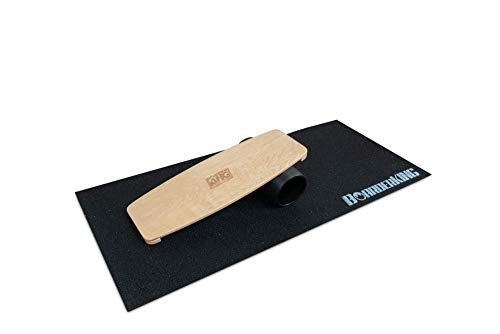 BoarderKING Indoorboard Limited Edition Skateboard Surfboard Trickboard Balanceboard Balance Board (Raw Wood, 140 mm (Plastikrolle))