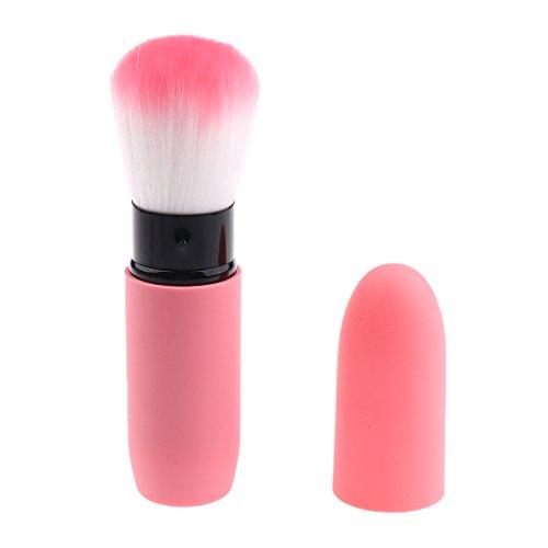 Einziehbare Pinsel mit Deckel, Pinsel Gesichts- Rouge Make up Pinsel Concealer Kontur Pinsel Puderpinsel, Blush Brush - Rosa
