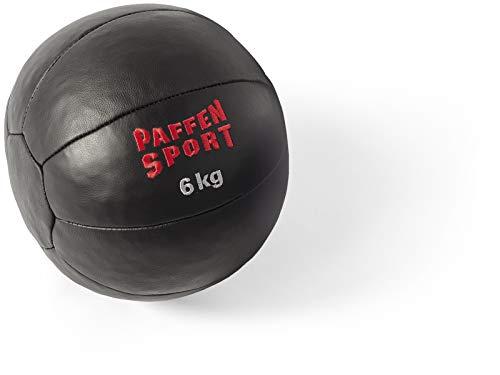 Paffen Sport Star Medizinball aus Leder – schwarz – 6 kg