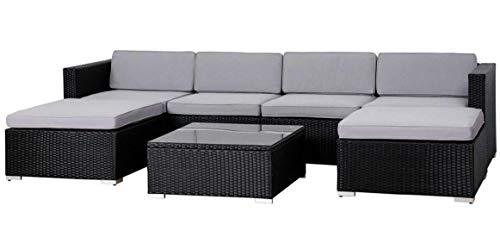 EVRE Rattan Outdoor Garden Furniture Set Nevada 6 Seater Sofa with Coffee Table (Black)