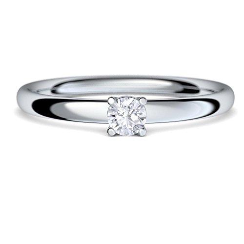 Verlobungsringe Silber-Ring von AMOONIC mit Zirkonia Stein Ring +LUXUSETUI Damen 925 wie Diamant Verlobungsring Diamantring Heiratsantrag Damenring wie Weißgold AM161SS925ZIFA48