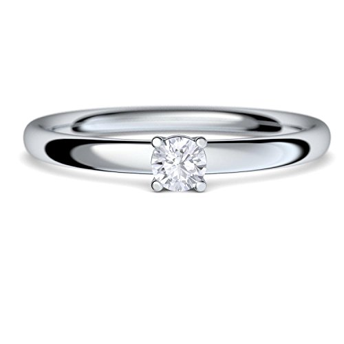 Verlobungsring Vorsteckring Platin Ring Diamant 950 + inkl. Luxusetui + Diamant Ring Platin Diamantring Platin 0,08 Carat SI1/H (Platin 950) - Concinnity Amoonic AM161 PL950BRFA60