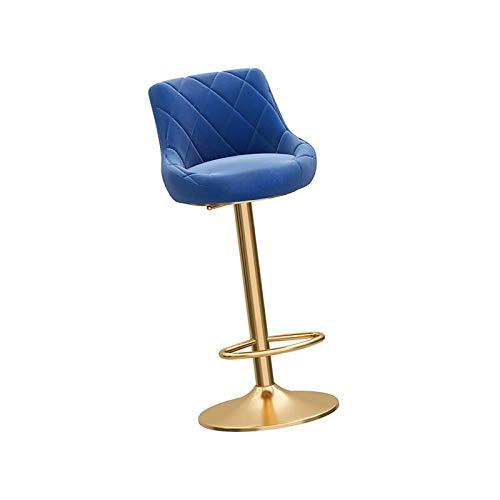 Śniadanie stołek barowy, regulowany obracany o 360 stopni podnośnik mechaniczny, chromowane podnóżki i podstawa do blatu, wyspy kuchennej i domu (kolor : niebieski)