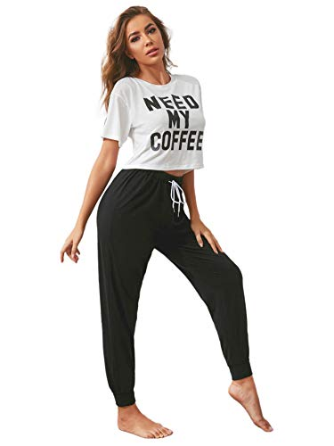 DIDK Damen Schlafanzug Set Pajama PJ Set Kurzarm Shirt Lang Schlafhose Schlafoberteil Sweatpants Hausanzüge mit Kordelzug Weiß S