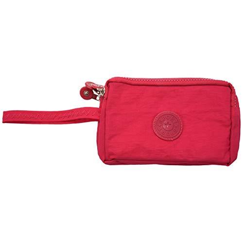 Gaetooely Frauen kleine Brieftasche Washer Falten Stoff Telefon Geldboerse drei Reissverschluesse tragbare Make-up Tasche Rose Rot