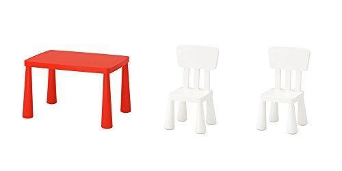 Ikea Mammut - Juego de Mesa y sillas para niños (Incluye Mesa de Color Rojo Mammut y Dos sillas de Color Blanco Mammut)