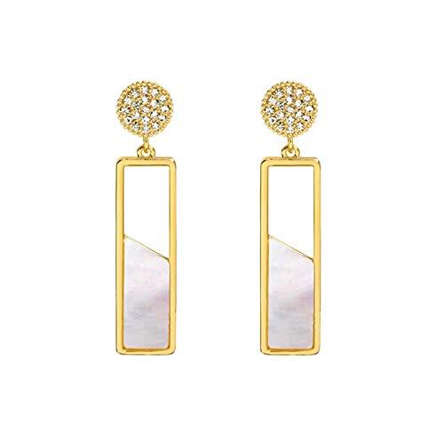 Yhhzw Pendientes De Gota Rectangulares Geométricos De Concha Para Mujer Fiesta De Metal De Color Dorado Y Cristal