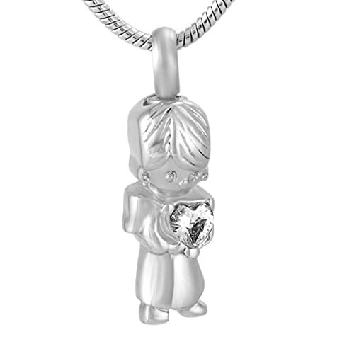 PicZhiwenture Kid Holds Heart Cremation Urn Necklace Ashes Holder Keepsake Cremation Jewelry for Human/Pet Ashes