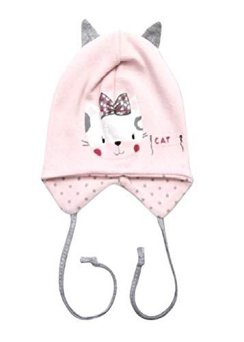 Seruna Baby-Mütze BY36 Gr. 68, Erstlings-Mützchen Katze-n Motiv klein-e Mädchen Babies Säugling-e Geschenk-e