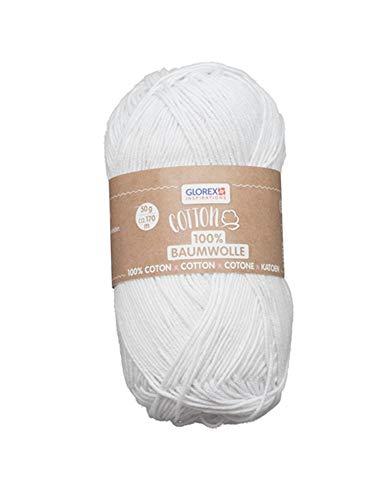 Glorex 5 1004 00 Coton 100% coton polyvalent pour tricoter, crochet et travaux manuels, très bonne qualité, doux et lavable, 50 g, env. 170 m - Blanc