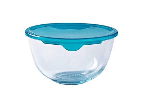 Pyrex Classic Ciotola di vetro ad alta resistenza Con coperchio, Trasparente/Blu, 1 L