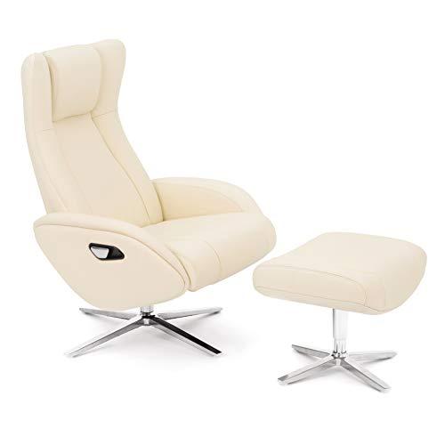 COMIFORT Sillon Relax de Piel con Reposapies Incluido. Modelo Parakeet. Ergonomico con Soporte Lumbar, Funcion Giratoria 360º, reclinable con Autoretorno y Reposacabezas Ajustable, Color Blanco