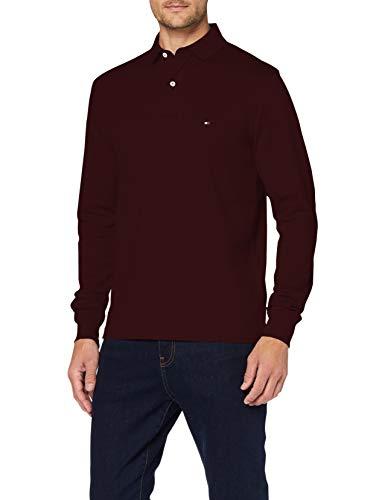 Tommy Hilfiger Tommy Regular Polo LS Camisa, Deep Burgundy, M para Hombre