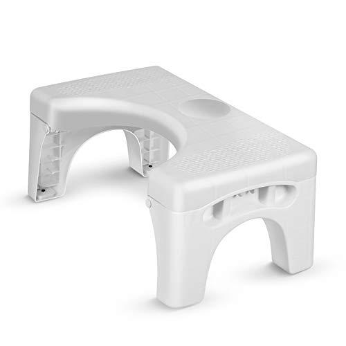 Openuye Medizinische Toilettenhocker, Rutschfest WC Hocker Klappbarer Toilettenhocker Toiletten Stuhl für eine gesunde Haltung auf der Toilette Gegen Hämorrhoiden Verstopfung, Blähungen, Reizdarm Weiß