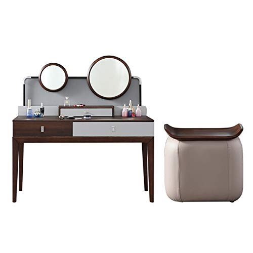 CJHOME Furniture Dressing Table and Dressing Table with Padded Stool and 2 Round Mirrors, Dressing Table Desk Set, Nordic Luxury Dressing Table, Small Apartment Bedroom Dressing Table