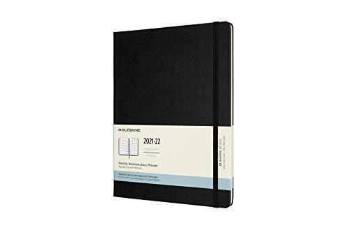 Moleskine - Agenda Mensual de 18 Meses, Agenda 2021/2022, Agenda Mensual con Tapa Blanda y Cierre Elástico, Tamaño XL 19 x 25 cm, Color Negro, 128...