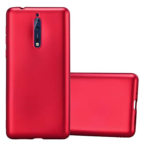Cadorabo Custodia per Nokia 8 2017 in Rosso Metallico - Morbida Cover Protettiva Sottile di Silicone TPU con Bordo Protezione - Ultra Slim Case Antiurto Gel Back Bumper Guscio