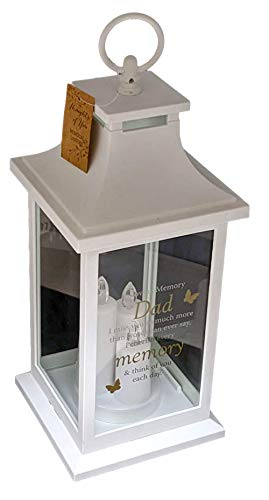 Widdop Dad Graveside Memorial Candle Lantern, Outdoor Battery Powered Remembrance Tribute Grave Memory Gift TY128D