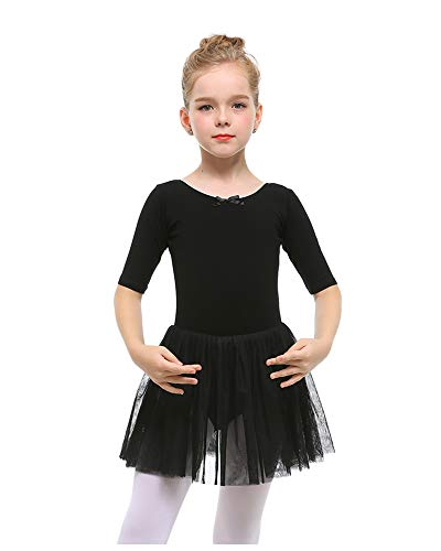 STELLE Toddler/Girls Cute Tutu Dress Ballet Leotard for Dance, Black, S(4Y)